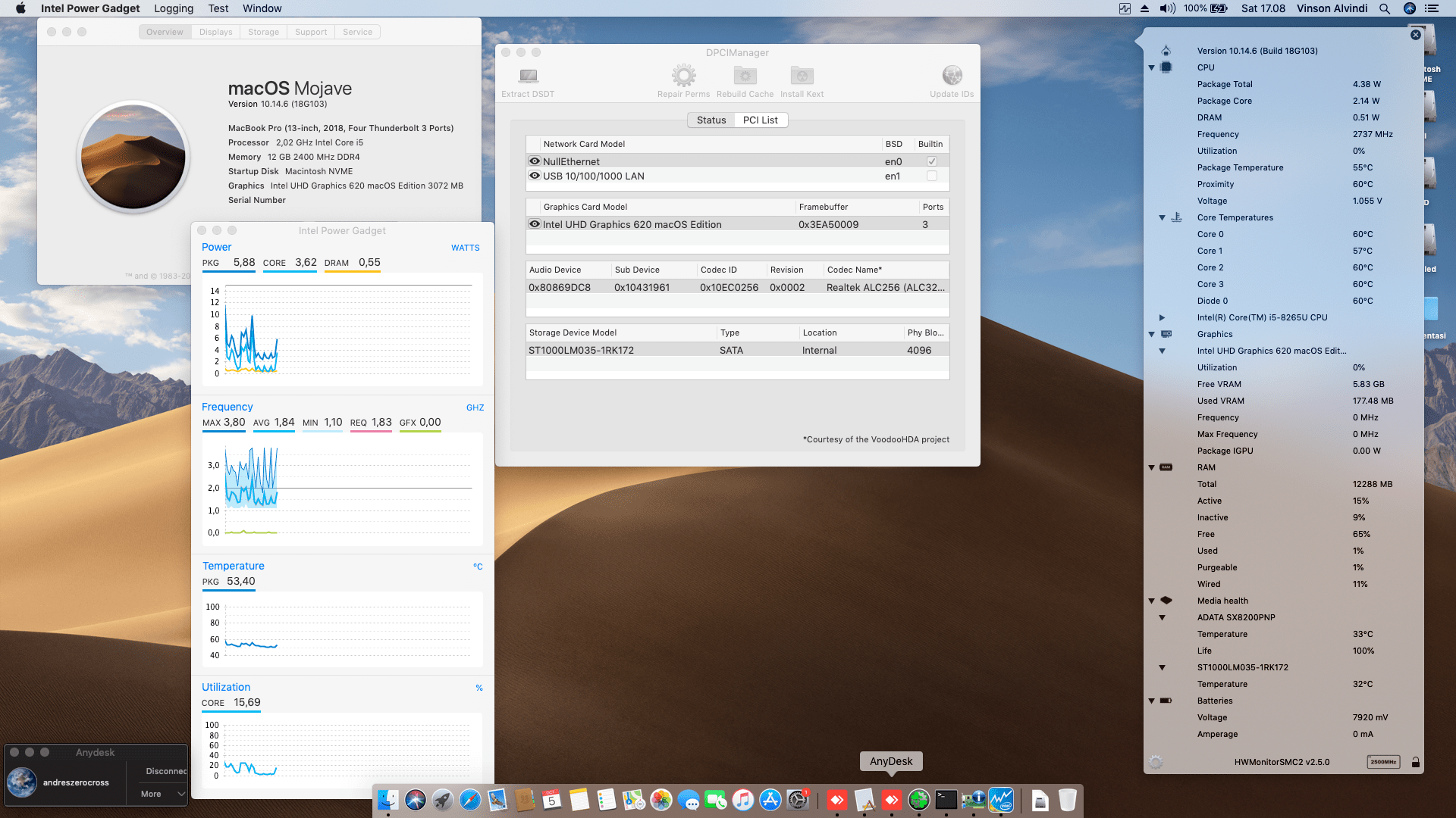 Success Hackintosh macOS Mojave 10.14.6 Build 18G103 at Asus A509FJ-EK502T Intel Core i5